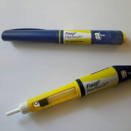 Uusi esitäytetty FlexTouch-insuliinikynä, johon Fiasp on pakattu.